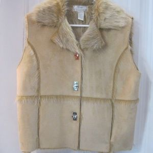 Lisa International Suede & Faux Fur Vest LG